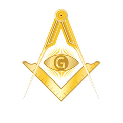 Golden masonic square and compass symbol, with G letter in an eye on sun rays. Mystic occult esoteric, sacred society. Vector illustration