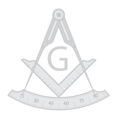 Gray masonic square and compass symbol, with G letter. Mystic occult esoteric, sacred society. Vector illustration
