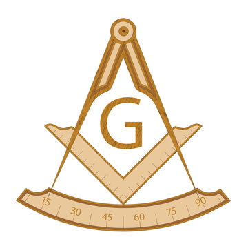 Wooden masonic square and compass symbol, with G letter. Mystic occult esoteric, sacred society. Vector illustration