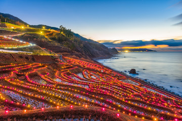Wajima, Japan at Shiroyone Senmaida rice terraces night light up.