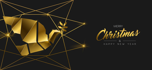 Wall Mural - Christmas and New Year 3d gold dove bird banner