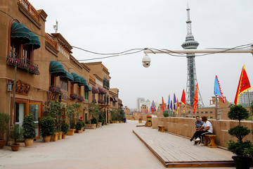 A security camera is placed in a renovated section of the Old City in Kashgar