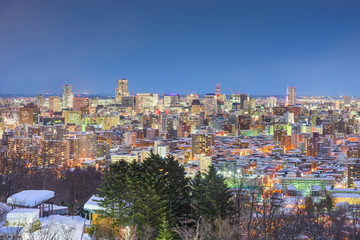 Sapporo, Japan Twilight Winter Skyline