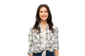 t-shirt design and people concept - smiling young woman or teenage girl in checkered shirt over white background