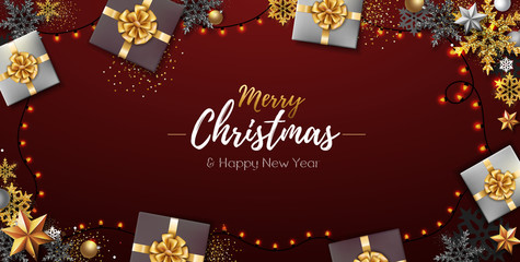 Christmas poster with golden Christmas snowflakes and presents