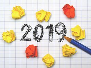 Notiz mit Bleistift -  2019