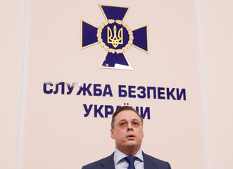 Deputy Head of Security Service of Ukraine, Frolov speaks during a news conference on the Black Sea incident in Kiev