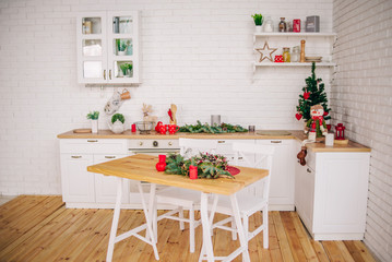Christmas kitchen. Scenery for photo shoots