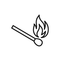 Black isolated outline icon of matchstick on white background. Line icon of match stick.
