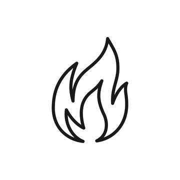Black isolated outline icon of flame, fire on white background. Line Icon of bonfire.