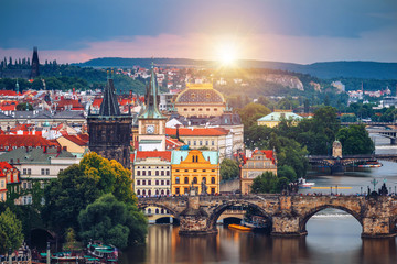 Fotobehang Oost Europa Famous iconic image of Charles bridge, Prague, Czech Republic. Concept of world travel, sightseeing and tourism.