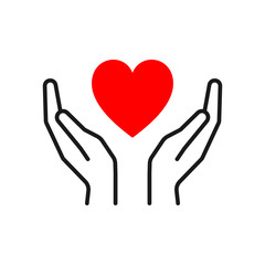 Black isolated outline icon of heart in hands on white background. Line icon of red heart and hands. Symbol of care, love, charity.