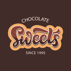 Chocolate sweets shop logo label