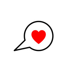 Black isolated outline icon of heart in speech bubble on white background. Line Icon of red heart in speech bubble.