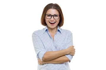 Portrait of positive aged woman with folded arms in glasses, white background isolated