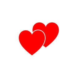 Red isolated icon of two hearts on white background. Silhouette of two hearts. Flat design. Symbol of love.
