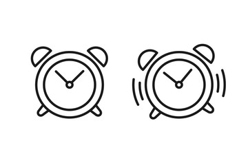 Black isolated outline icon of alarm clock and ringing alarm clock on white background. Set of line Icons of alarm clock.