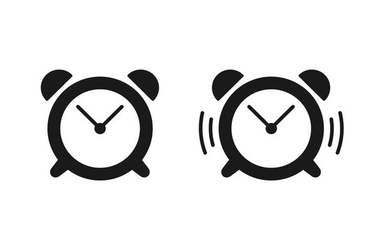 Black isolated set of icons of alarm clock and ringing alarm clock on white background. Silhouette of alarm clock. Flat design.