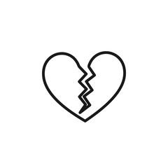 Black isolated outline icon of broken heart on white background. Line Icon of broken heart.