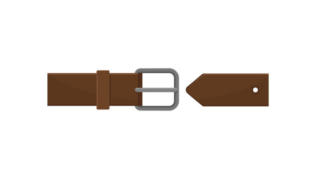 Dark brown men belt with gray metal buckle. Classic leather accessory. Element of clothing. Flat vector icon