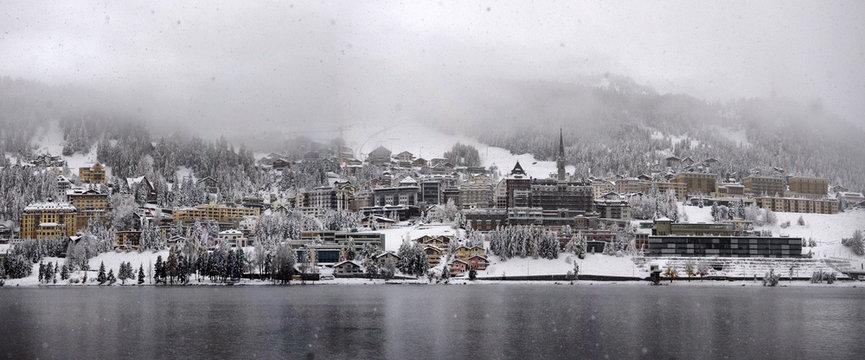 panorama of Sankt Moritz (Saint Moritz, San Maurizio) town in Engadine, Swiss Alps