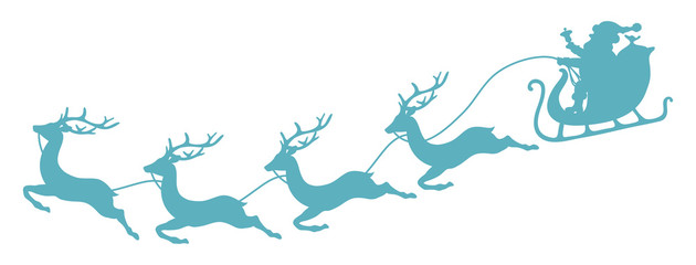 Christmas Sleigh, Santa & 4 Flying Reindeers Retro Blue