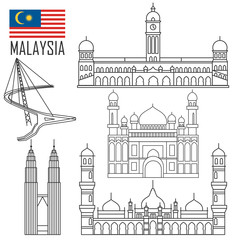 Set with Malaysia landmarks in outline style