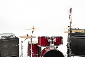 drum set on white background. musical instruments