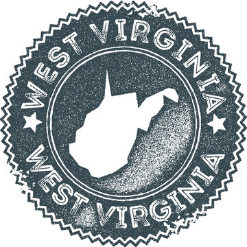 West Virginia map vintage stamp. Retro style handmade label, badge or element for travel souvenirs. Dark blue rubber stamp with us state map silhouette. Vector illustration.