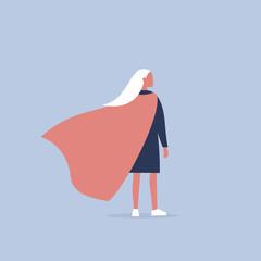 Superhero conceptual illustration. Young  female character wearing a superhero cape / flat editable vector illustration, clip art