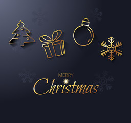 Christmas card with a golden Christmas symbols. Modern vector illustration.