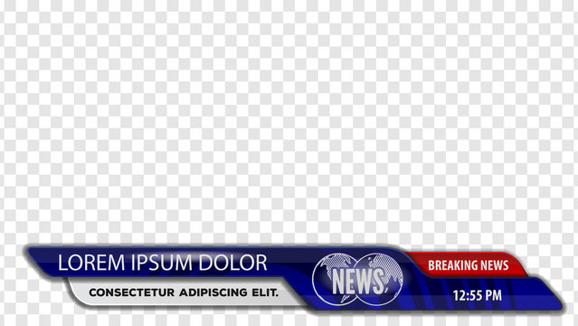 Video headline title or Lower third for news header. Breaking news. Vector template for your design.