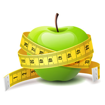 Realistic green apple with measure tape, fitness diet icon, body and health care concept, vector illustration