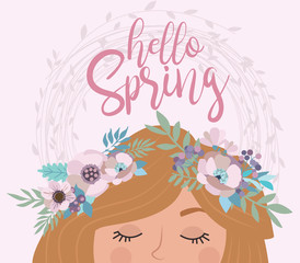 "Delicate poster in pastel color ""Hello spring"" with flowers and fairy. Editable vector illustration"