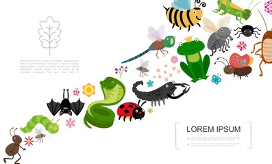 Flat Insects And Animals Concept