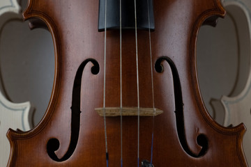 In selective focus of wooden violin,show texture of wood and detail of violin