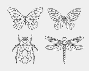 Set of abstract polygon animals. Linear geometric butterfly, dragonfly, beetle. Vector illustration.
