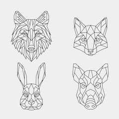 Set of abstract polygon animals. Linear geometric wolf, Fox, rabbit, boar. Vector illustration.