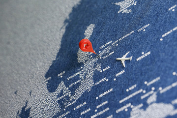 Printed kitchen splashbacks Eastern Europe handmade travel painted map with the plane, estonia