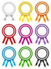 9 Award Badges Ribbon Stripe