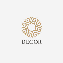 Vector logo design template for boutique hotel, restaurant, jewelry. Sun symbol