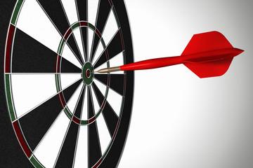 3D rendering of a dart in the bull's eye