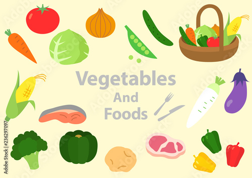野菜 食べ物 肉 魚 イラストfotoliacom の ストック画像とロイヤリティ