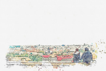 A watercolor sketch or an illustration. Young couple in love or friends are sitting and admiring the beautiful architecture in Prague.