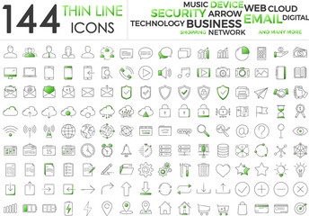 Black and green business thin line icons set on white background