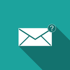Envelope with question mark icon isolated with long shadow. Letter with question mark symbol. Send in request by email. Flat design. Vector Illustration