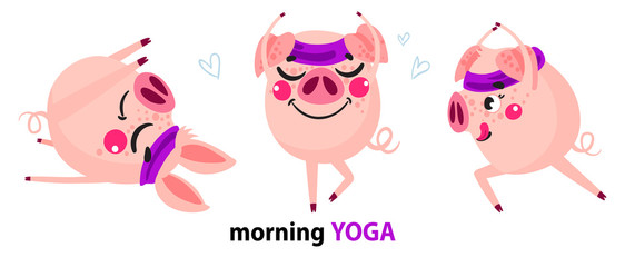 Set of cute cartoon pigs. Funny pig doing yoga.  Vector illustration for calendar, card, banner, postcard.