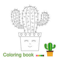 illustration of cactus in funny pot for coloring book. Simple educational game for kids