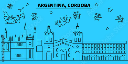 argentina cordoba winter holidays skyline merry christmas happy new year decorated banner with