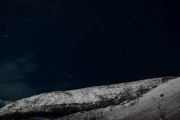 Polar night in the far north of the Kola Peninsula